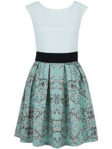 Closet Damask Box Pleat Skater Dress