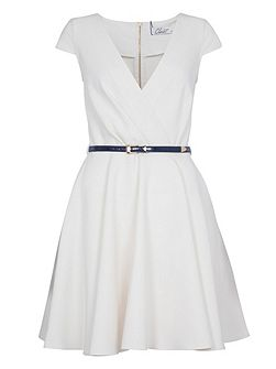 V Neck Belted Skater Dress