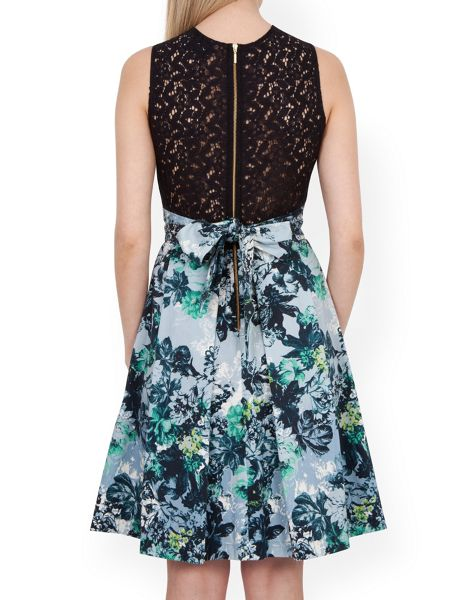Closet Floral Lace Back Skater Dress