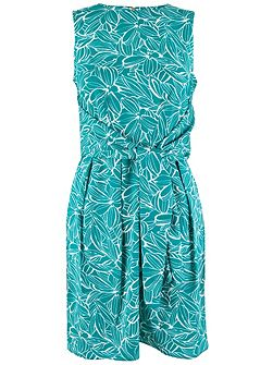 Leaf Print Tie Front Dress