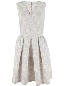 Almari Floral Jacquard V-Neck Dress