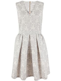 Floral Jacquard V-Neck Dress