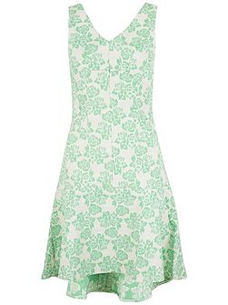 Floral Jacquard V Neck Dress