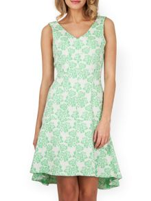 Almari Floral Jacquard V Neck  Dress