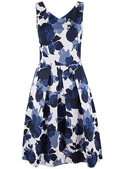 Floral Box Pleat Midi Dress