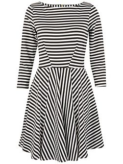 Monochrome Stripe Skater Dress
