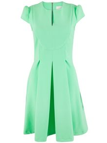 Almari Split Neck Box Pleat Dress