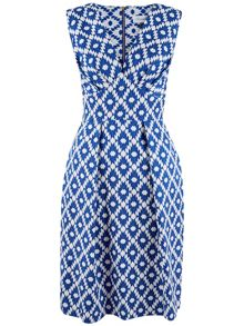 Closet Asymmetric Print V-Neck Dress