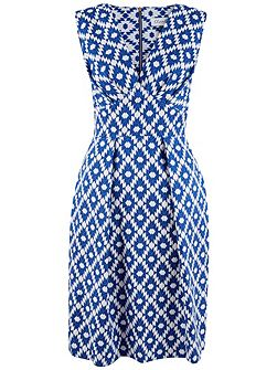 Asymmetric Print V-Neck Dress