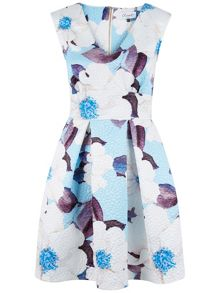 Floral V-Neck Textured Dress
