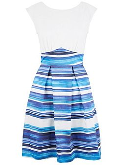 Stripe V-Back Box Pleat Dress