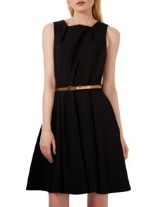 Low Neck Panel Belted Dress