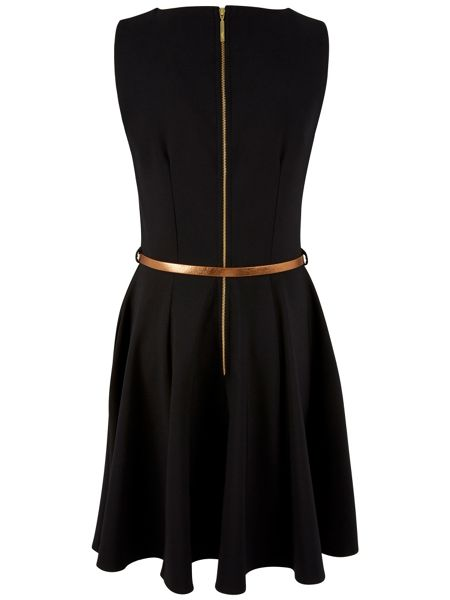 Closet Low Neck Panel Belted Dress