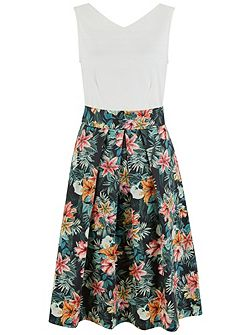 Floral V-Neck Tie Back Dress