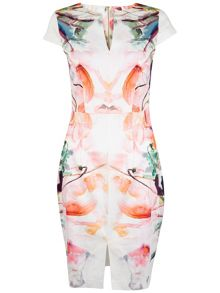 Closet Floral Slit Front Pencil Dress