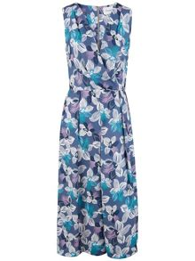 Closet Floral Cross Over Midi Dress