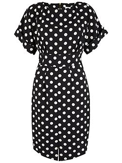 Polka Dot Split Front Dress