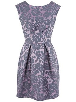Damask V-Back Skater Dress