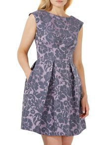 Closet Damask V-Back Skater Dress
