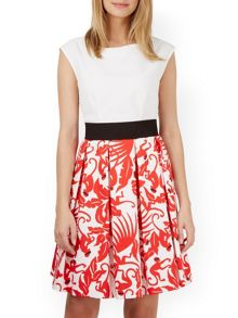 Floral V-Back Box Pleat Dress