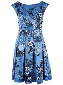 Closet Floral V-Back Box Pleat Dress