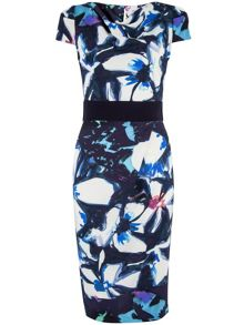 Closet Floral Contrast Tie Waist Dress