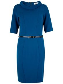 Wide Collar Belted Panel Dress