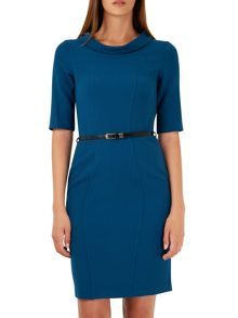 Closet Wide Collar Belted Panel Dress