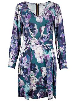 Floral V-Neck Long Sl Dress