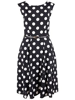 Midi Big Polka Belted Dress