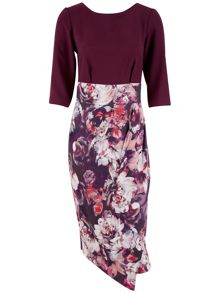 Closet Floral Contrast Wrap Skirt Dress