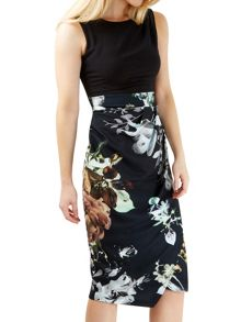 Closet Floral Tie Back Contrast Dress