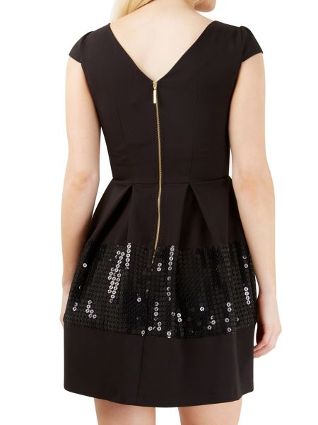Closet Sequin Band V Back Pleat Dress
