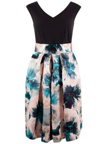 Closet Contrast Floral Satin Skirt Dress
