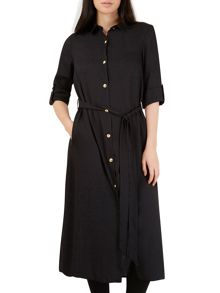 Long Line Belted Slit Shirt