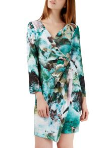 Closet Meta Print Wrap Drape Dress