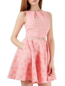 Closet Pink Daisy Floral Belted Skater Dress