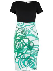 Contrast Mint Drape Skirt Dress
