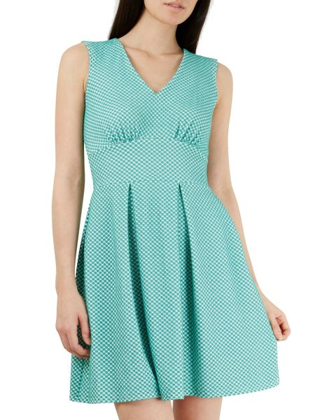 Closet Polka Dot V Neck Full Pleat Dress