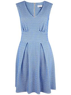 Polka Dot V Neck Full Pleat Dress