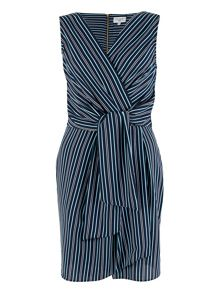 Closet Navy Stripe Cross Over Dress