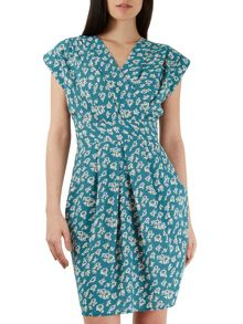 Closet Teal Floral Print Cross Over Dress