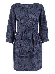 Closet Navy Print Long Sleeved Dress
