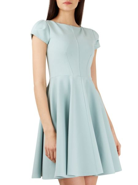 Closet Mint Cap Sleeve Skater Dress