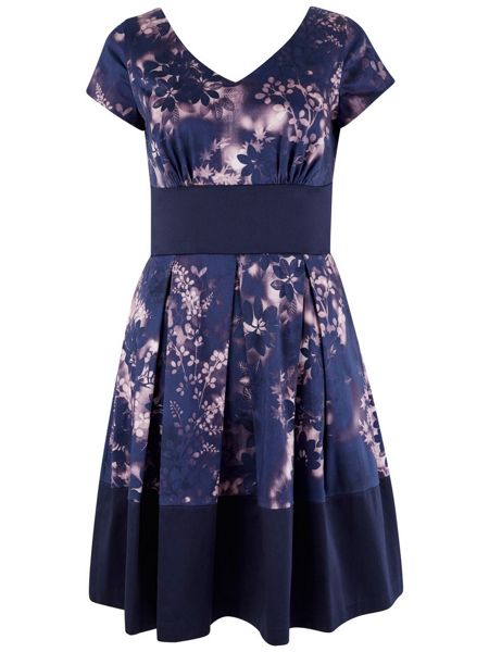 Closet Purple Floral Contrast Hem V Neck Dress