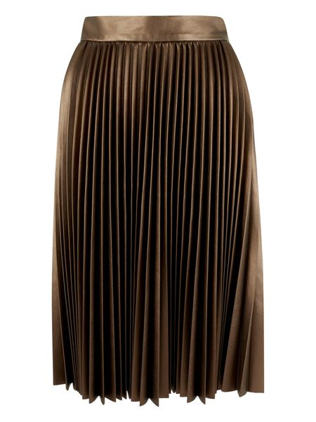Closet Bronze Pleat Midi Skirt