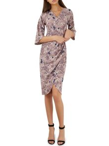 Closet Tulip Print Drape Belted Dress