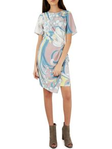 Closet Retro Print Wrap Skirt Dress