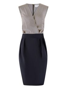 Closet Navy Polka Cross Over Dress