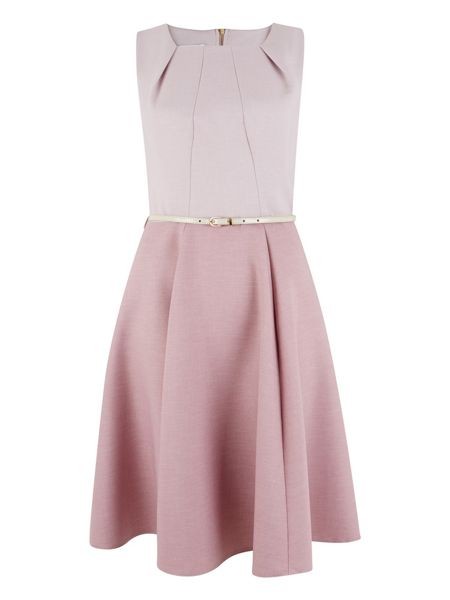 Closet Pink Full Panel Belted Dress